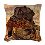Vintage Lab Hunt Art Woven Throw Pillow