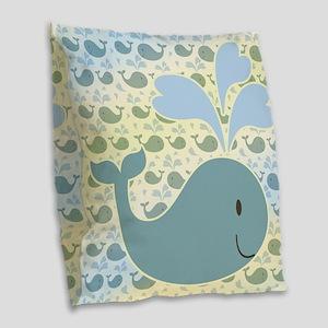 Cute Whale Design Burlap Throw Pillow