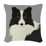 Border Collie Woven Throw Pillow