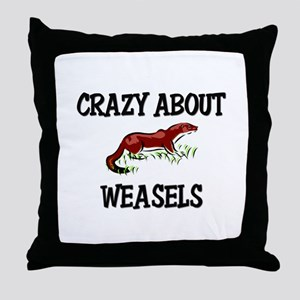 Crazy About Weasels Throw Pillow