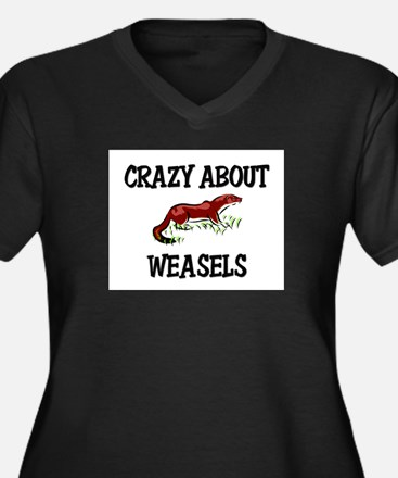 Crazy About Weasels Women's Plus Size V-Neck Dark