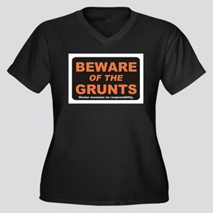 Beware / Grunt Women's Plus Size V-Neck Dark T-Shi