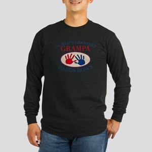 Best Grampa Hands Down Long Sleeve Dark T-Shirt