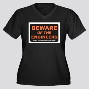 Beware / Engineer Women's Plus Size V-Neck Dark T-