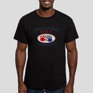 Best Lolo Hands Down Men's Fitted T-Shirt (dark)