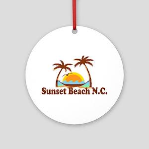 Sunset Beach NC - Sun and Palm Trees Design Orname