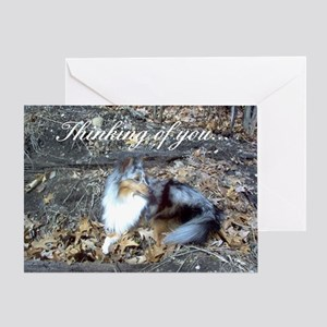 Blue Merle in the Leaves Greeting Card