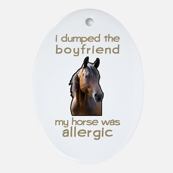 Boyfriend Allergic Horse Oval Ornament