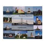 Straits Of Mackinac Lighthouses Throw Blanket