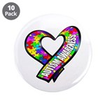 """Puzzle Ribbon Heart 3.5"""" Button (10 pack)"""