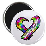 """Puzzle Ribbon Heart 2.25"""" Magnet (10 pack)"""