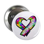"""Puzzle Ribbon Heart 2.25"""" Button (100 pack)"""