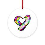 Puzzle Ribbon Heart Ornament (Round)