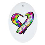 Puzzle Ribbon Heart Oval Ornament