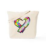 Puzzle Ribbon Heart Tote Bag