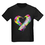Puzzle Ribbon Heart Kids Dark T-Shirt