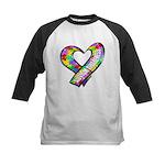 Puzzle Ribbon Heart Kids Baseball Jersey
