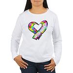 Puzzle Ribbon Heart Women's Long Sleeve T-Shirt