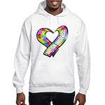 Puzzle Ribbon Heart Hooded Sweatshirt