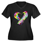 Puzzle Ribbon Heart Women's Plus Size V-Neck Dark