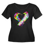 Puzzle Ribbon Heart Women's Plus Size Scoop Neck D