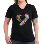Puzzle Ribbon Heart Women's V-Neck Dark T-Shirt