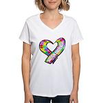 Puzzle Ribbon Heart Women's V-Neck T-Shirt