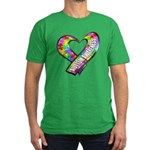Puzzle Ribbon Heart Men's Fitted T-Shirt (dark)