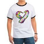 Puzzle Ribbon Heart Ringer T
