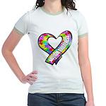 Puzzle Ribbon Heart Jr. Ringer T-Shirt