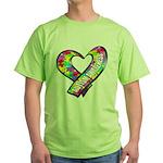 Puzzle Ribbon Heart Green T-Shirt