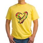 Puzzle Ribbon Heart Yellow T-Shirt
