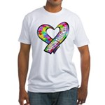 Puzzle Ribbon Heart Fitted T-Shirt