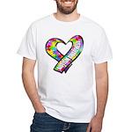Puzzle Ribbon Heart White T-Shirt
