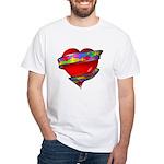 Red Heart w/ Ribbon White T-Shirt