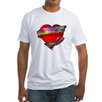 Red Heart w/ Ribbon Fitted T-Shirt