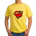 Red Heart w/ Ribbon Yellow T-Shirt