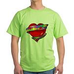 Red Heart w/ Ribbon Green T-Shirt