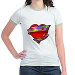 Red Heart w/ Ribbon Jr. Ringer T-Shirt