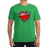 Red Heart w/ Ribbon Men's Fitted T-Shirt (dark)