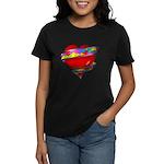 Red Heart w/ Ribbon Women's Dark T-Shirt