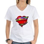 Red Heart w/ Ribbon Women's V-Neck T-Shirt