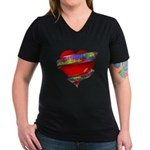 Red Heart w/ Ribbon Women's V-Neck Dark T-Shirt