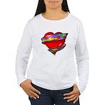 Red Heart w/ Ribbon Women's Long Sleeve T-Shirt