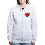 Red Heart w/ Ribbon Women's Zip Hoodie