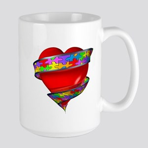 Red Heart w/ Ribbon Large Mug