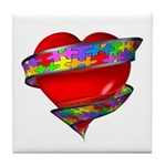 Red Heart w/ Ribbon Tile Coaster