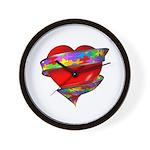 Red Heart w/ Ribbon Wall Clock