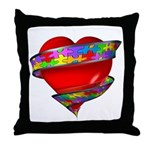 Red Heart w/ Ribbon Throw Pillow