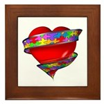Red Heart w/ Ribbon Framed Tile